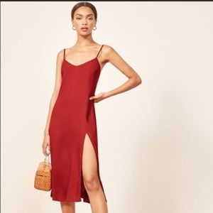 Reformation Crimini MIDI Dress Side Slit Red 2